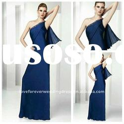2012 Long One Shoulder Navy Blue Evening Dress Gown