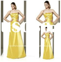 2012 New Stunning Satin Yellow Evening Dresses Gowns