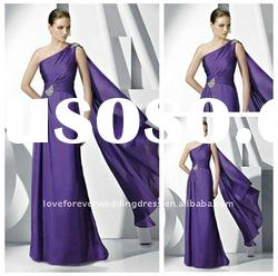 2012 Style One Shoulder Purple Evening Dresses Gowns