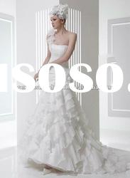 2012 one shoulder flowers accented layered skrt a line layered organza tiered wedding dress