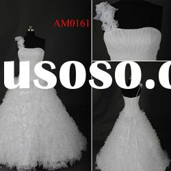 AM0161 One-shoulder Ball Gown Elegant White Custom Made Wedding Dress
