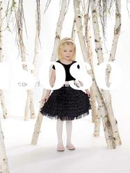 Best Seller Velvet and Tulle Tiers of ruffled Skirt Flower Girls' Dress