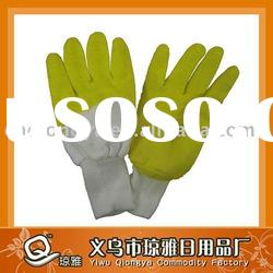 Cotton yarn latex coated wrinkled glove for industrial work YL063