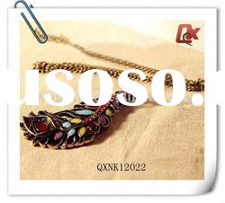 Fashion vintage feather pendant necklace (QXNK12022)