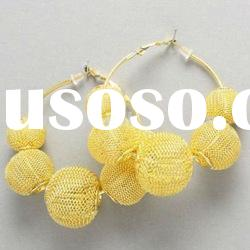 NEW! Poparazzi Basketball Wives Bamboo Hoop Mesh Balls Gold Hoop Earrings