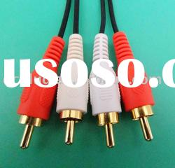 PVC plastic,cable with RCA male connector plug, RCA cable, dc plug