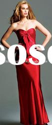 SHE142 Hot selling strapless red ersey floor-length simple evening Dress
