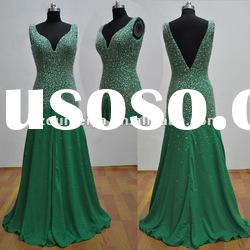 V Open Back ORE56 Beaded Green Evening Gowns 2012