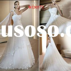 WD0573 White Tulle A-Line Covered Back Wedding Dresses