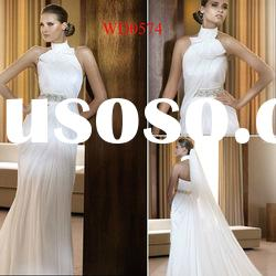 WD0574 Chiffon Sheath High Collar Diamonds Wedding Dress Bridal