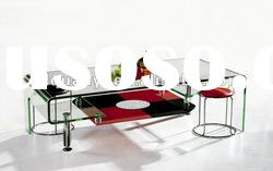 hot bent glass coffee shop tables and chairs G3255