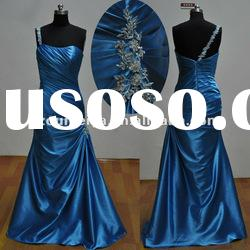Stretch Satin Appliqued ORE53 One Shoulder Sheath Evening Gowns