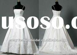 spaghetti traps applique accented ball gown real sample wedding dress