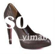 2012 brown leather red sole high heel woman shoe