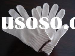 6/s bleached white 10 guage cotton gloves/coated latex glove