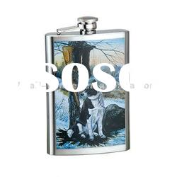 6oz Water-transferred stainless steel hip flask