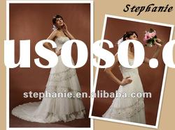 A6204 Stephanie Pleated Organza Tiered lace Beaded Sweetheart Wedding Gown 2012