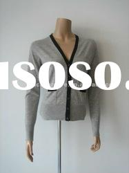 Cashmere Ladies knitted cardigan sweater with contrast color and front pockets