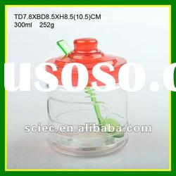 Colorful Plastic Lid with Spoon and Aluminum Paster Glass Spice Jar