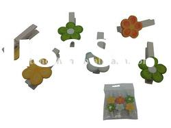 Easter decoration-Wooden flower pegs S/6