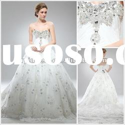 Fashionable Back Open Ball Gown Crystals Wedding Dress 2012