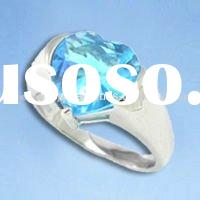 Latest design, aquamarine CZ silver ring, OEM & ODM are available