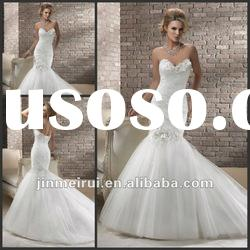 New Arrival 2013 Sweetheart Backless Handmade Flowers Lastest Tulle Mermaid Wedding Gowns