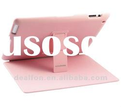 New Arrival Luxury Leather Case For The New iPad iPad3 Hard Back Cover With Stand Pink