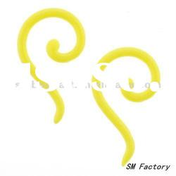acrylic neon yellow swirl tapers ear piercing body jewelry-SMEP130-YL