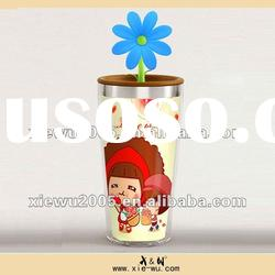 cute double wall stainless steel cup with silicone lid