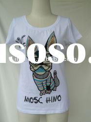 fashion print tshirt for women with beads