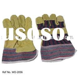 quality green split cowhide leather safety glove for genetal work