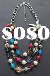 Fashion multi colored pearl beads chunky necklace jewelry