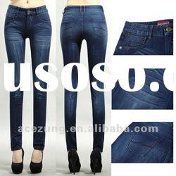 Newest OEM knit jeans pents with whisker washed design for ladies---skinny pants
