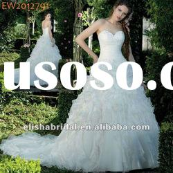 Princess/Ball Gown Beaded Sweetheart Neckline Chapel Train Tiered Organza Wedding Dress Gown