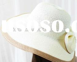 beautiful ladies wide brim white straw hat