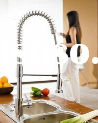 elegant double handle wall mount kitchen faucet with spray