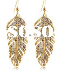 fashion earring jewelry ,Czech crystal leaves/feather shaped 18k gold-plated dangle earring