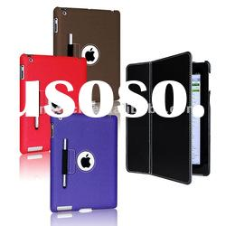 slim stand leather case for new iPad3 with touch pen