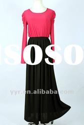 2012 New Fashion Lady Casual Long Sleeves Maxi Dresses,Wholesale and Retail,YYH-BDF1057#