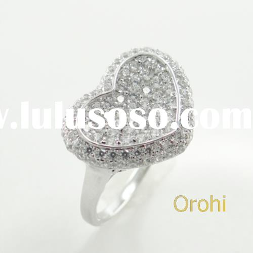 Alibaba jewelry wholesale engagement ring,imitation diamond rings,heart shaped nipple ring.- S673-R-