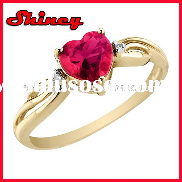 Created Ruby Heart Ring with Diamonds in 10K Yellow Gold_heart shaped engagement ring