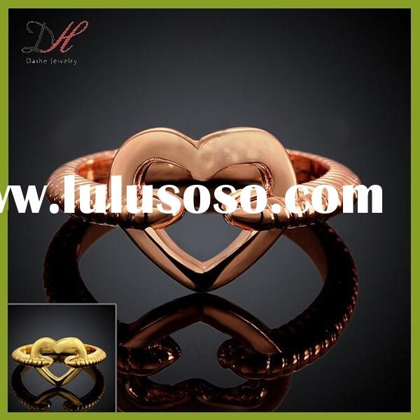 Daihe RN4720 love jewelry heart shaped engagement rose gold ring