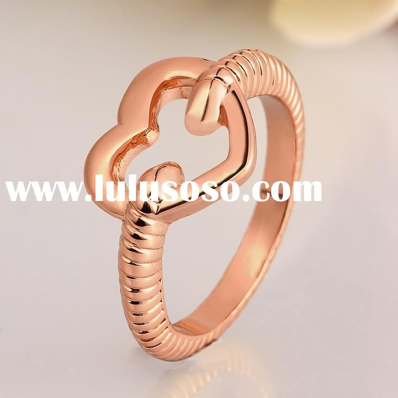 Fashion Valentine's Gift Girlfriend Gold Plated Heart Shaped Engagement Ring
