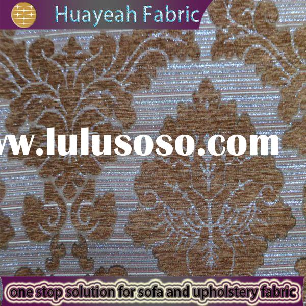 Floral design yellow chenille fabric by the yard