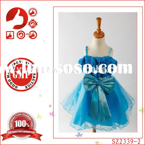 Latest party frocks for girls cheap baby birthday party dress western kids show dress big bow fancy