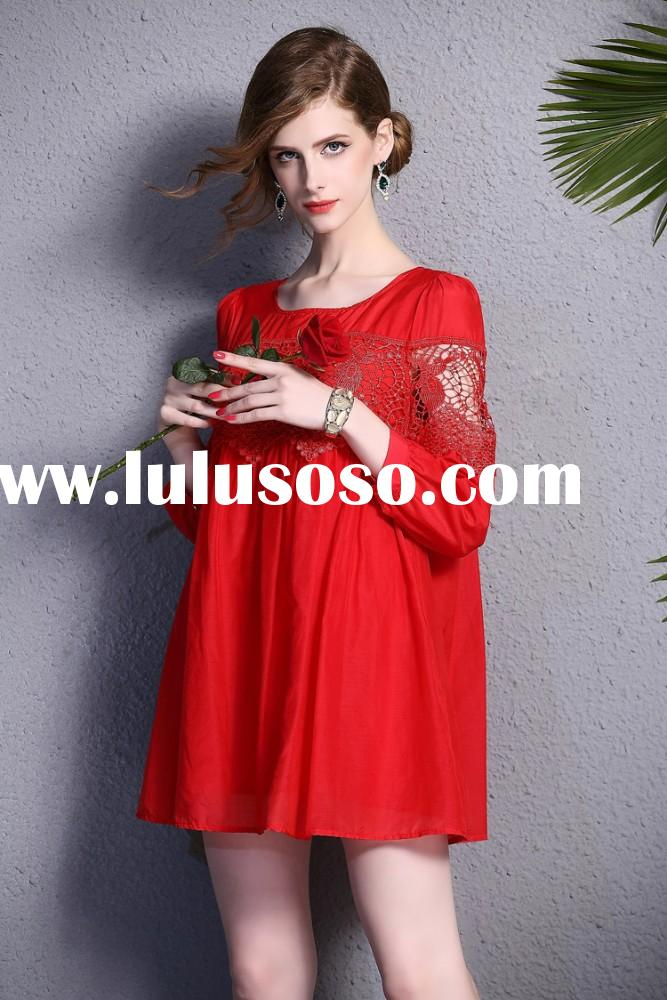 New Arrivals Fashion 2015 Round Neck Ladies Smart Casual Dress Designs Embroidery Summer Dress OEM W