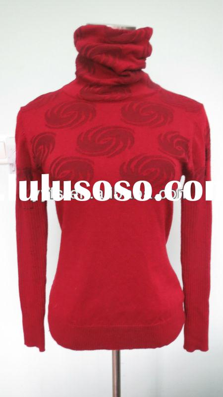 The rose red high neck comfort weave pattern cotton sleeve elegant knit women dress