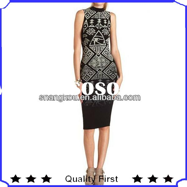 fashion dresses in black lady high neck design cotton print dress, western style animal printed summ