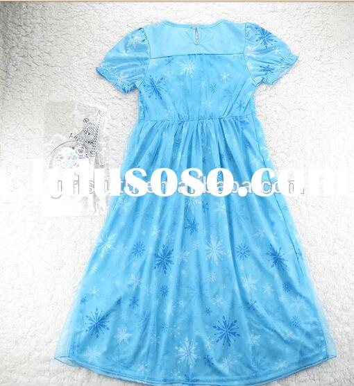 2014 Popular design Pakistani baby girls pretty princess party maxi frozen dress elegant snow print